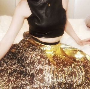 MUNTHE gold and floral pleated skirt 36